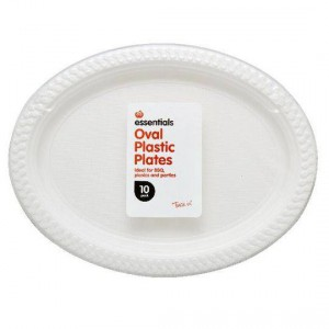Essentials Plastic Dinner Plates Oval