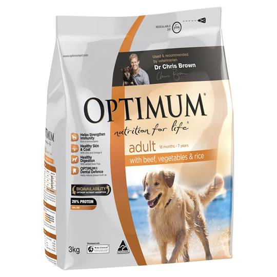Optimum Adult Dog Food Beef Vegetable & Rice