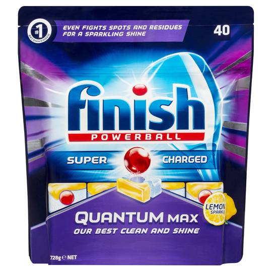 Finish Powerball Quantum Max Dishwashing Tablets Lemon Sparkle