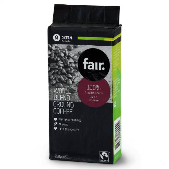Oxfam Organic Fair Trade World Blend Ground Coffee