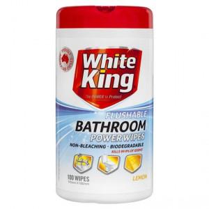 White King Power Clean Bathroom Cleaner Wipes Flushable Lemon