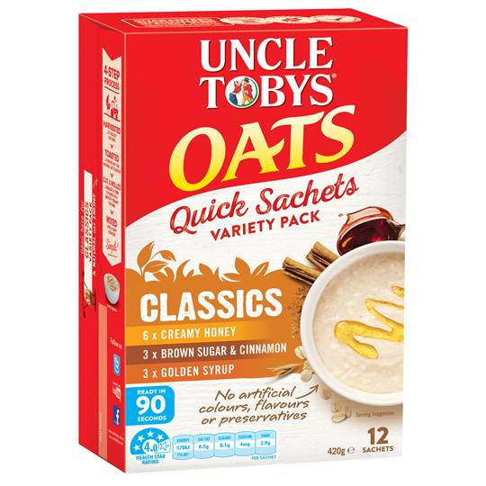 Uncle Tobys Quick Oats Sachets Variety Pack