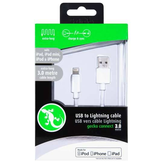 Gecko Usb & Cable White 3m