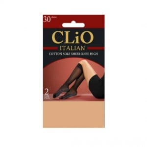 Clio Italian Cotton Sole Knee High Tights Natural One Size