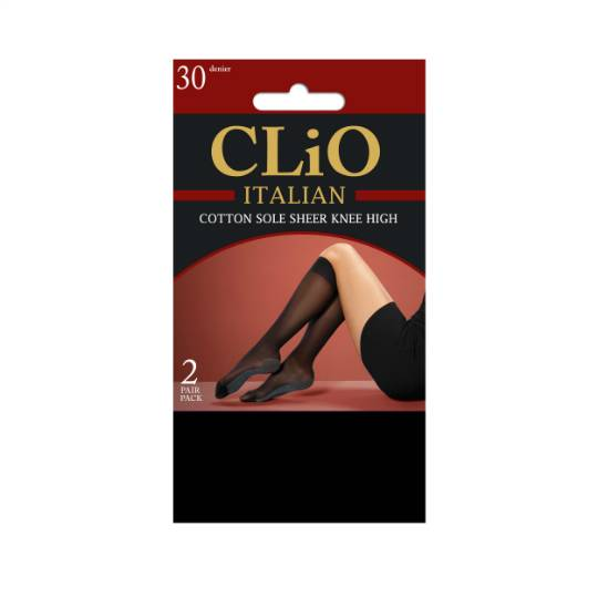 Clio Italian Cotton Sole Knee High Tights Black One Size