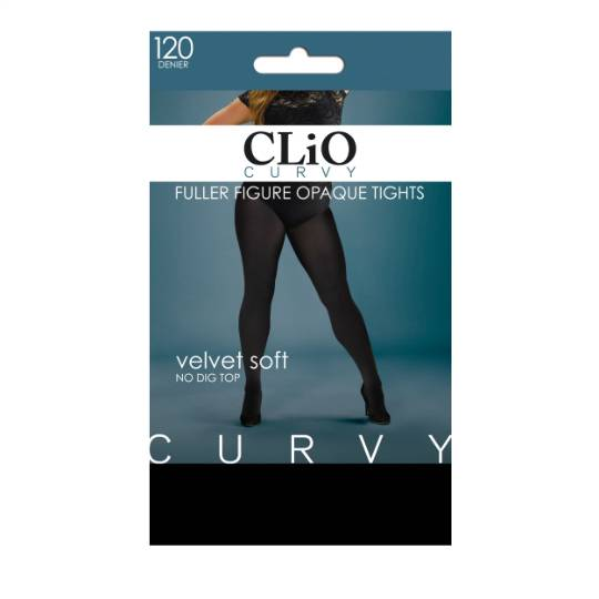 Clio Curvy Opaque Tights Fuller Figure 120d Black 2