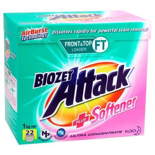 Biozet Attack Front & Top Loader Laundry Powder Plus Softener