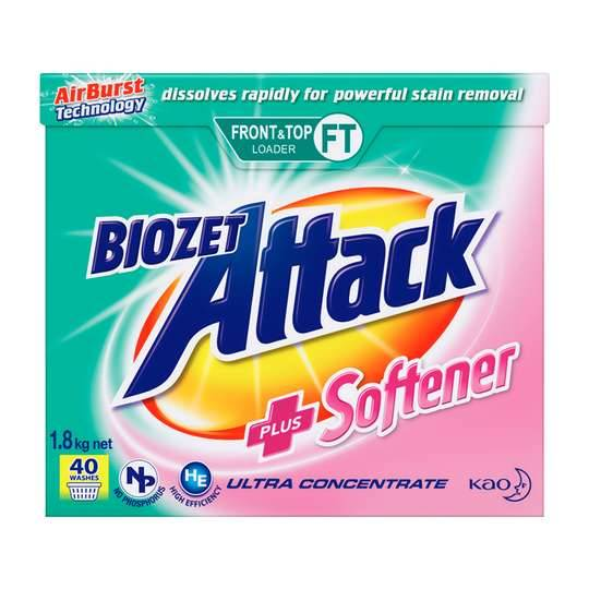 Biozet Attack Front & Top Loader Laundry Powder Plus Softener