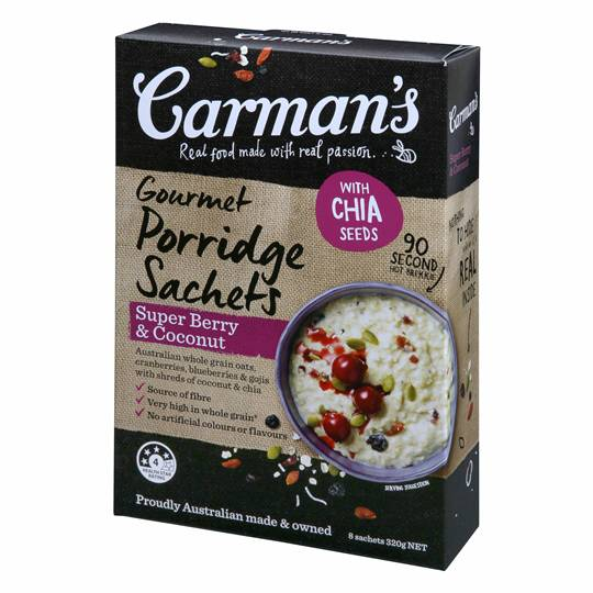 Carmans Super Berry & Coconut Gourmet Porridge Sachets