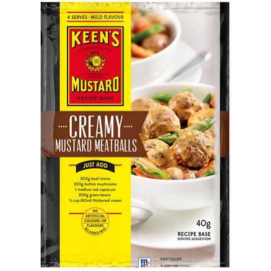 Keens Recipe Base Creamy Mustard Meatballs