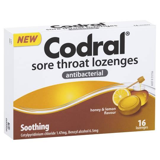 Codral Antibacterial Throat Lozenge Soothing Honey And Lemon