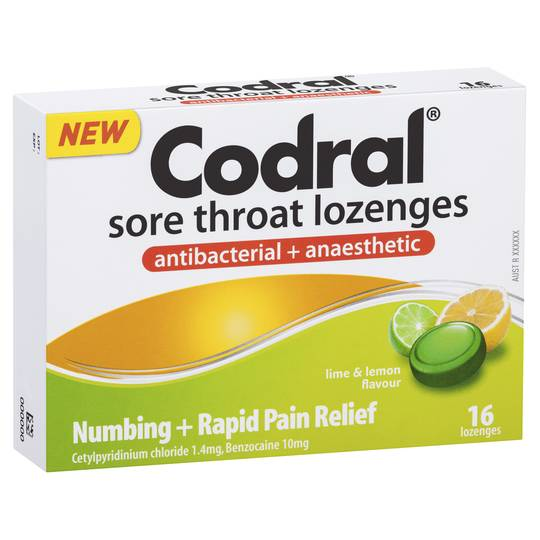 Codral Antibacterial Throat Lozenge Anaesthetic Lime And Lemon