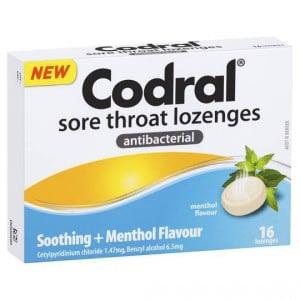 Codral Antibacterial Throat Lozenge Soothing Menthol