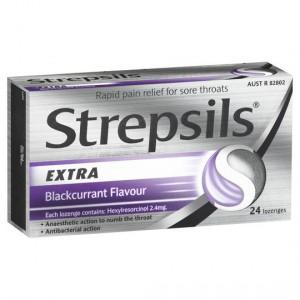 Stpepsils Throat Lozenges Triple Action Blackcurrant