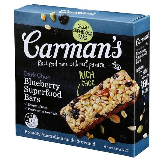 Carman's Dark Choc Blueberry Superfood Bars
