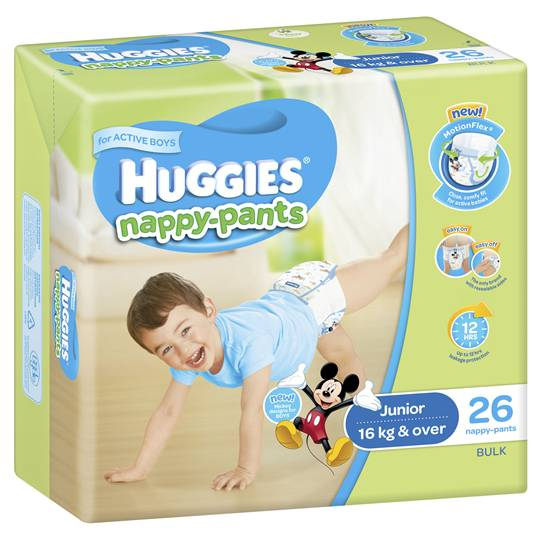Huggies Nappy-pants Junior Boy 16kg+ Bulk