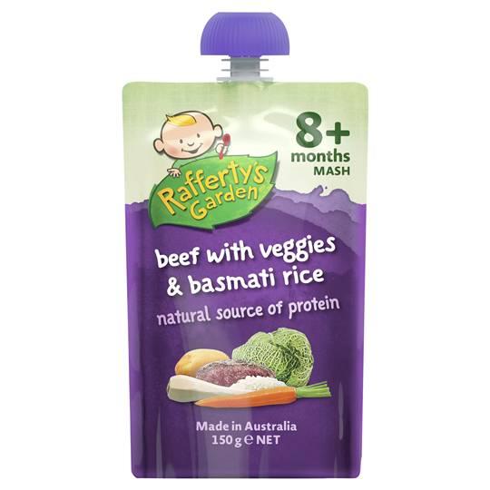 Raffertys Garden Food 8 Months Beef Vegetables & Basmati Rice