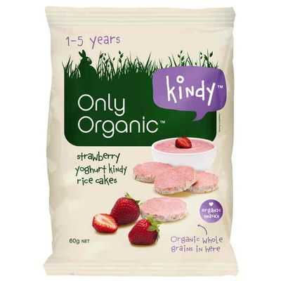 Only Organic Food Rice Cakes Snack Strawberry Yoghurt