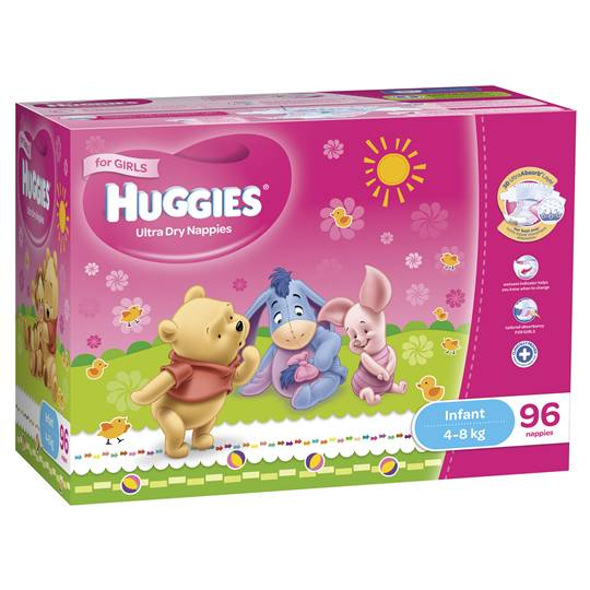 Huggies Ultra Dry Nappies Infant Girl 4-8kg Jumbo Box