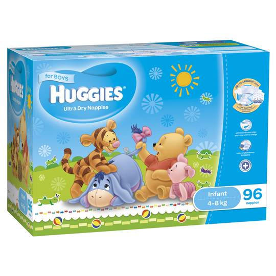Huggies Ultra Dry Nappies Infant Boy 4-8kg Jumbo Box