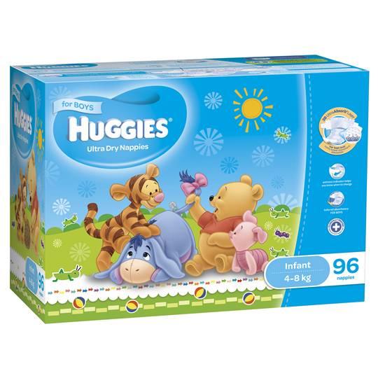 Huggies Ultra Dry Nappies Infant Boy 4-8kg Jumbo Box