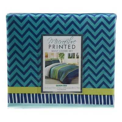 Printed Microfibre Quilt Cover Set Queen Bed
