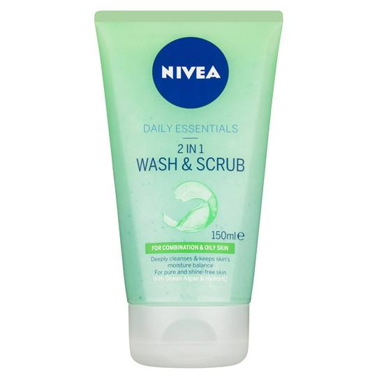 Nivea Daily Essentials 2 In 1 Wash & Scrub Combination & Oily Skin