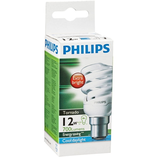 Philips Cfl Tornado Cool Daylight 12w Bc Base