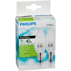 Philips Halogen Clear Candle Ses Base 2pk