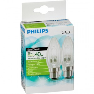 Philips Haloge Clear Candle Bc Base 2pk