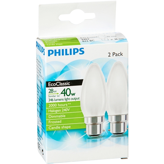 Philips Halogen Frosted Candle Bc Base 2pk