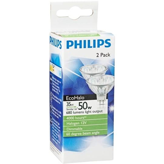 Philips Ecohalogen 12v Downlight 35w 60degree 2pk