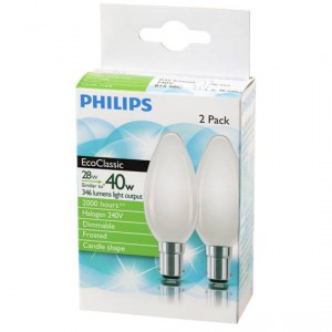 Philips Halogen Frosted Candle Sbc Base 2pk
