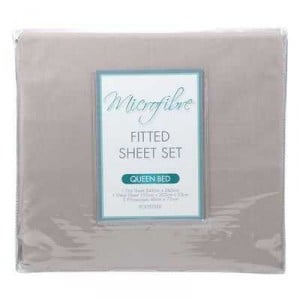 Plain Dyed Fitted Sheet Set Micro Fibre Queen Bed
