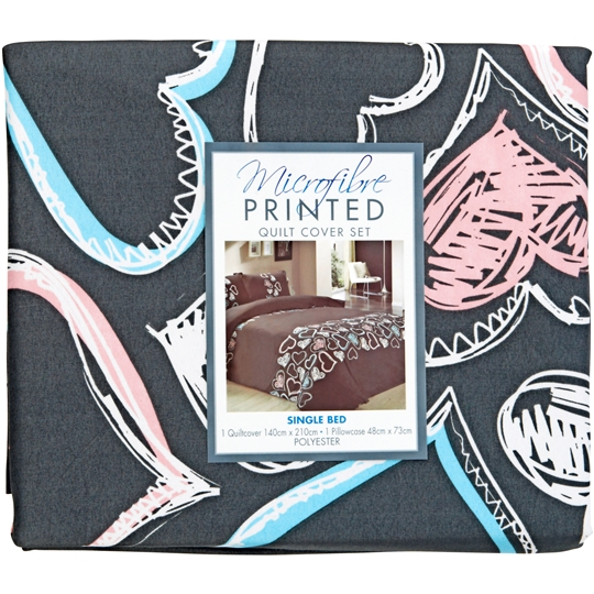 Printed Microfibre Quilt Cover Set Single Bed