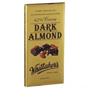 Whittakers Dark Chocolate 62% Cocoa Almond