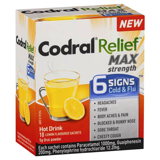 Codral Relief 6 Signs Hot Drinks