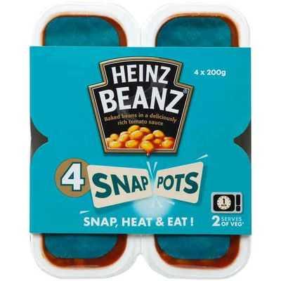 Heinz Snap Pots Baked Beans Tomoto Sauce