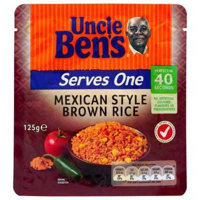 Uncle Bens Serves One Microwave Brown Mexican Rice