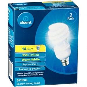 Olsent Spiral Cfl Warm White Bc 14w
