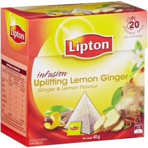 Lipton Herbal Infusion Pyramid Tea Bags Uplifting Lemon Ginger