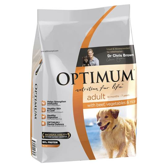 Optimum Adult Dog Food Beef Veg & Rice