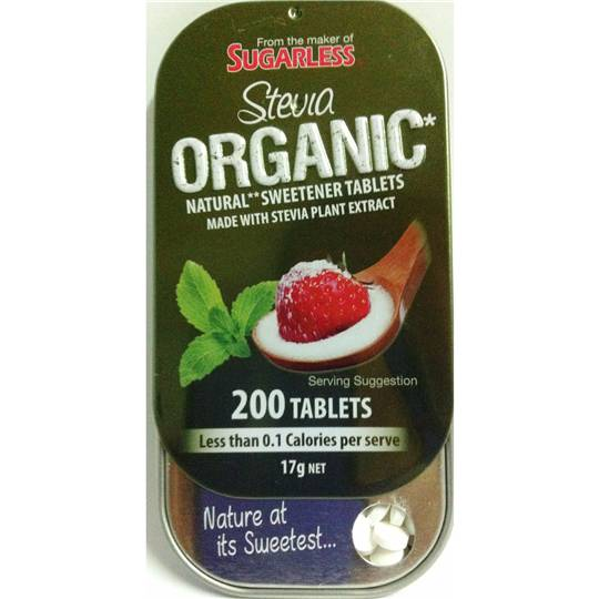 Sugarless Stevia Organic Natural Sweetener Tablets