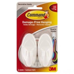 Command Quartz Hooks Medium White