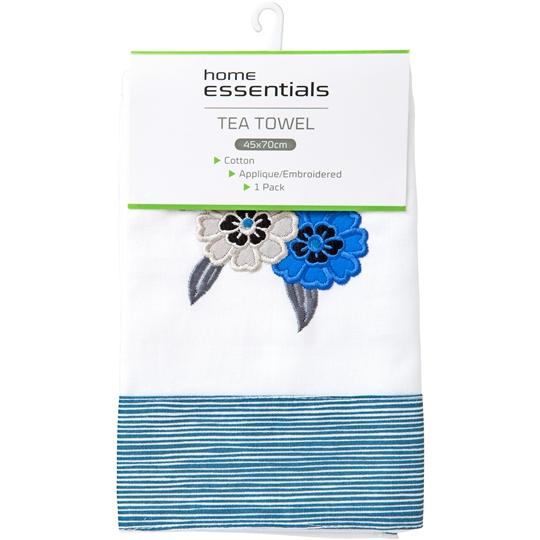 Home Essentials Kitchen Manchester Embroidered Tea Towel