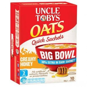Uncle Tobys Quick Oats Sachets Big Bowl Honey