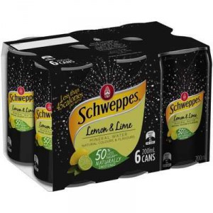 Schweppes Lemon & Lime Mineral Water Cans