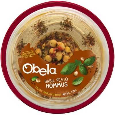 Obela Hommus Garnished With Basil Pesto