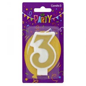 Party Candle Metallics Number 3
