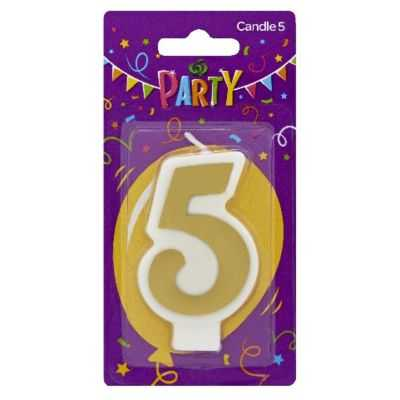 Party Candle Metallics Number 5